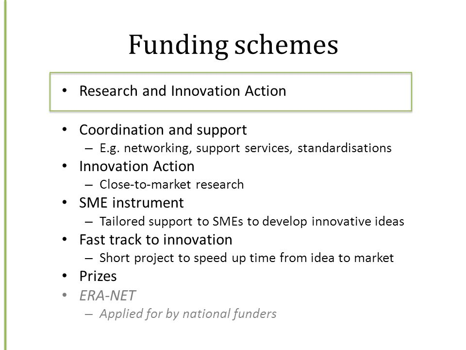 Funding schemes Research and Innovation Action
