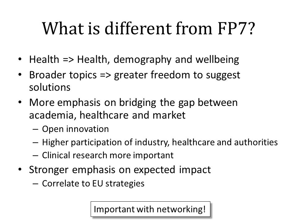 What is different from FP7