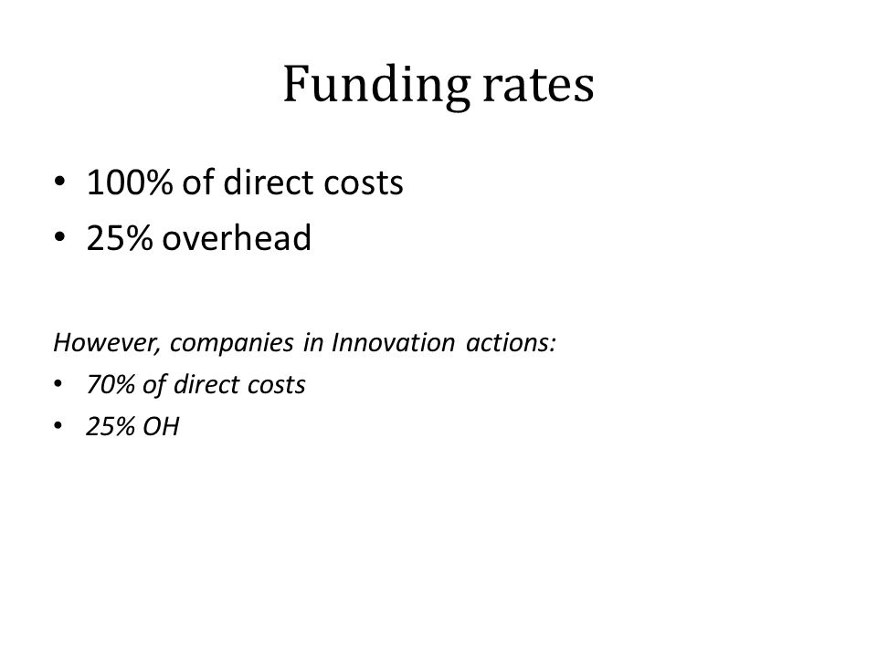 Funding rates 100% of direct costs 25% overhead