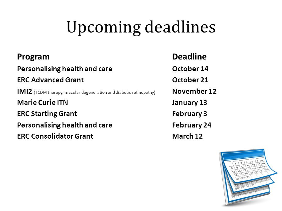 Upcoming deadlines Program Deadline