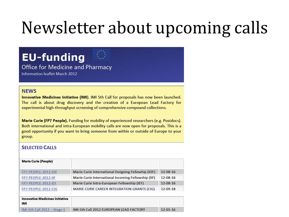 Newsletter about upcoming calls