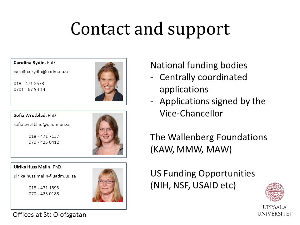 Contact and support National funding bodies