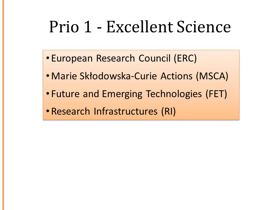 Prio 1 - Excellent Science