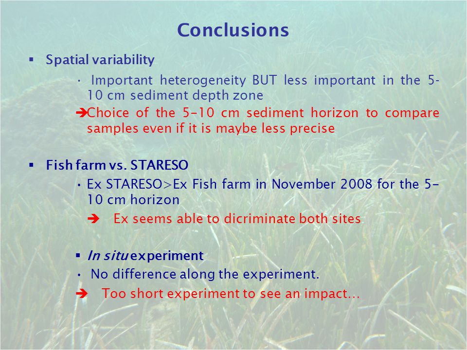 Conclusions Spatial variability