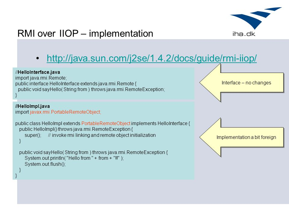RMI over IIOP – implementation