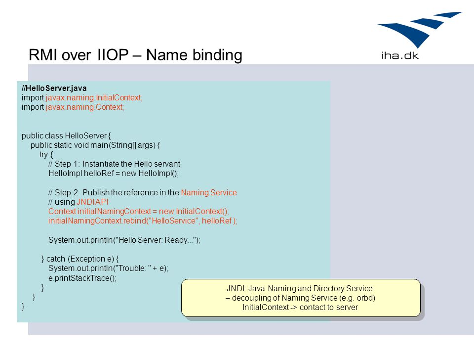 RMI over IIOP – Name binding
