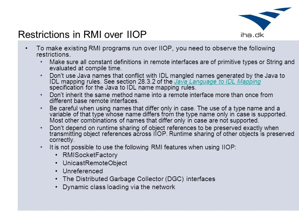 Restrictions in RMI over IIOP