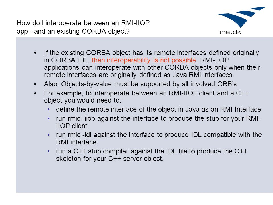 How do I interoperate between an RMI-IIOP app - and an existing CORBA object