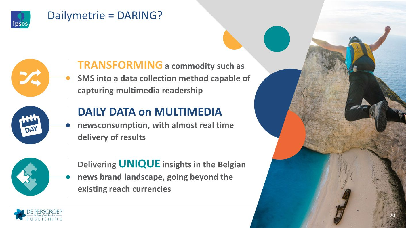 Dailymetrie = DARING TRANSFORMING a commodity such as SMS into a data collection method capable of capturing multimedia readership.