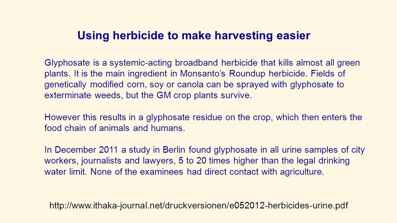 Using herbicide to make harvesting easier