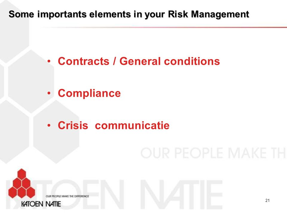 Some importants elements in your Risk Management