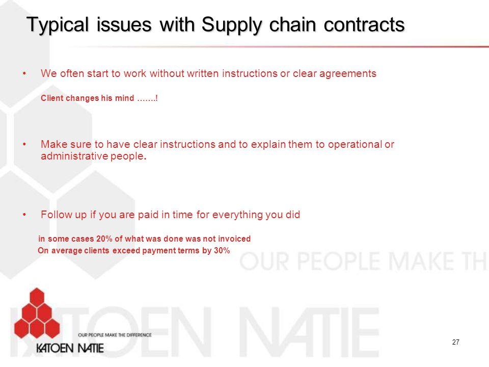 Typical issues with Supply chain contracts