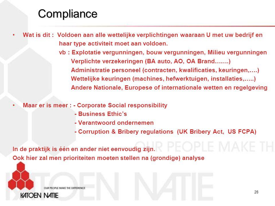 Compliance Wat is dit : Voldoen aan alle wettelijke verplichtingen waaraan U met uw bedrijf en. haar type activiteit moet aan voldoen.