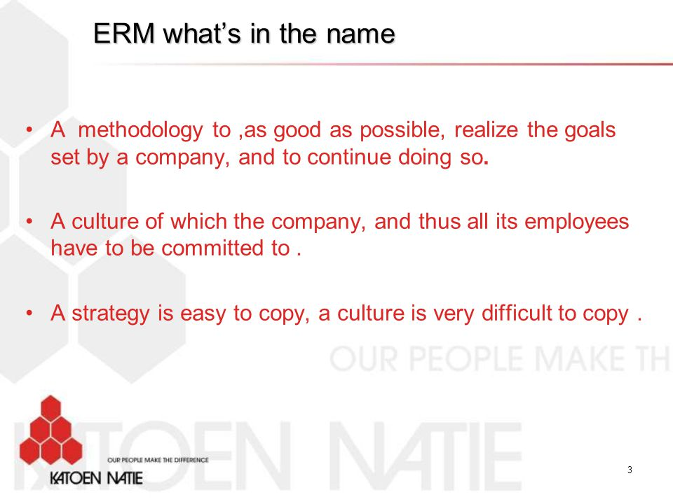 ERM what's in the name A methodology to ,as good as possible, realize the goals set by a company, and to continue doing so.
