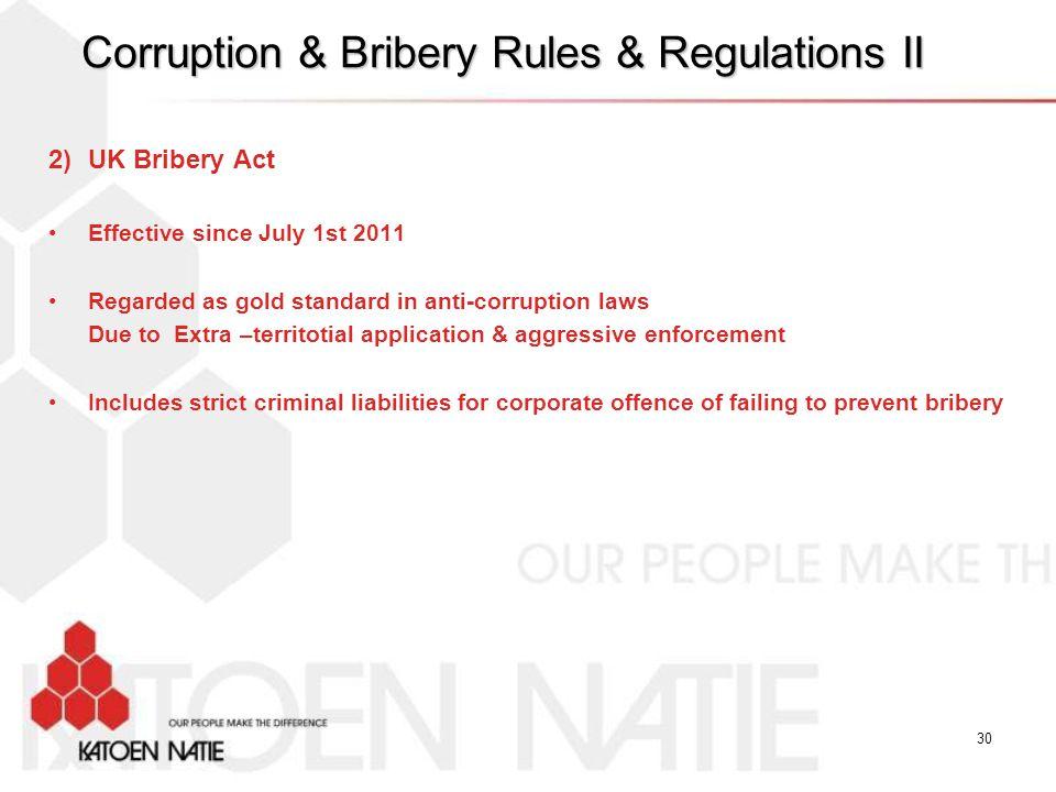 Corruption & Bribery Rules & Regulations II