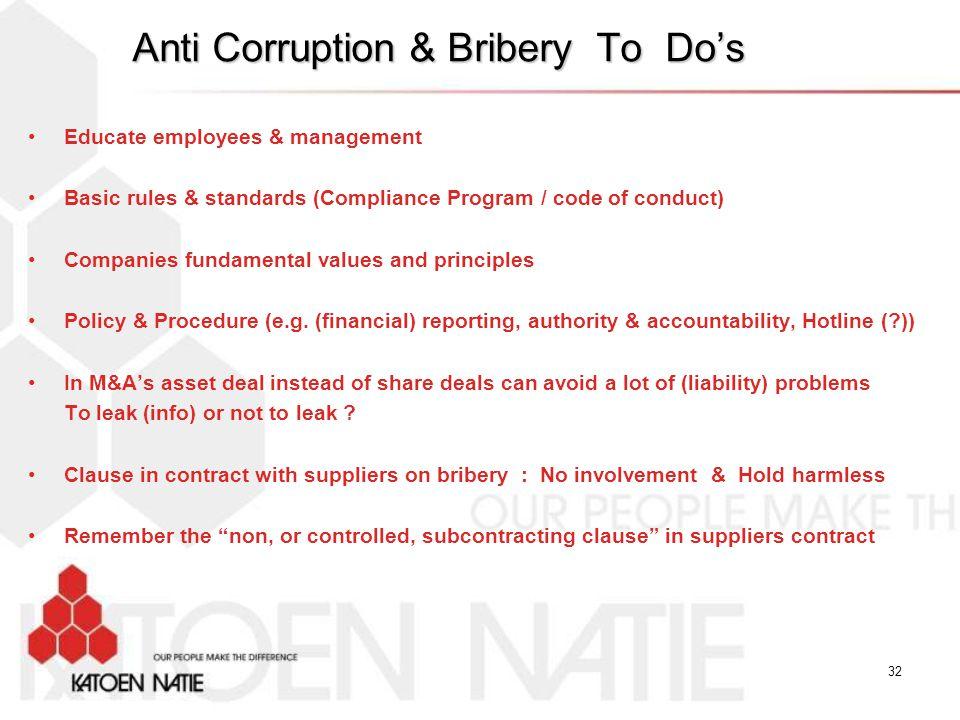 Anti Corruption & Bribery To Do's