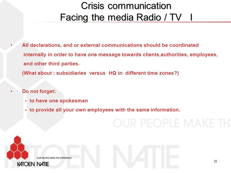 Crisis communication Facing the media Radio / TV I
