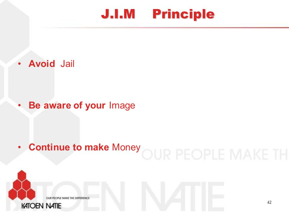 J.I.M Principle Avoid Jail Be aware of your Image