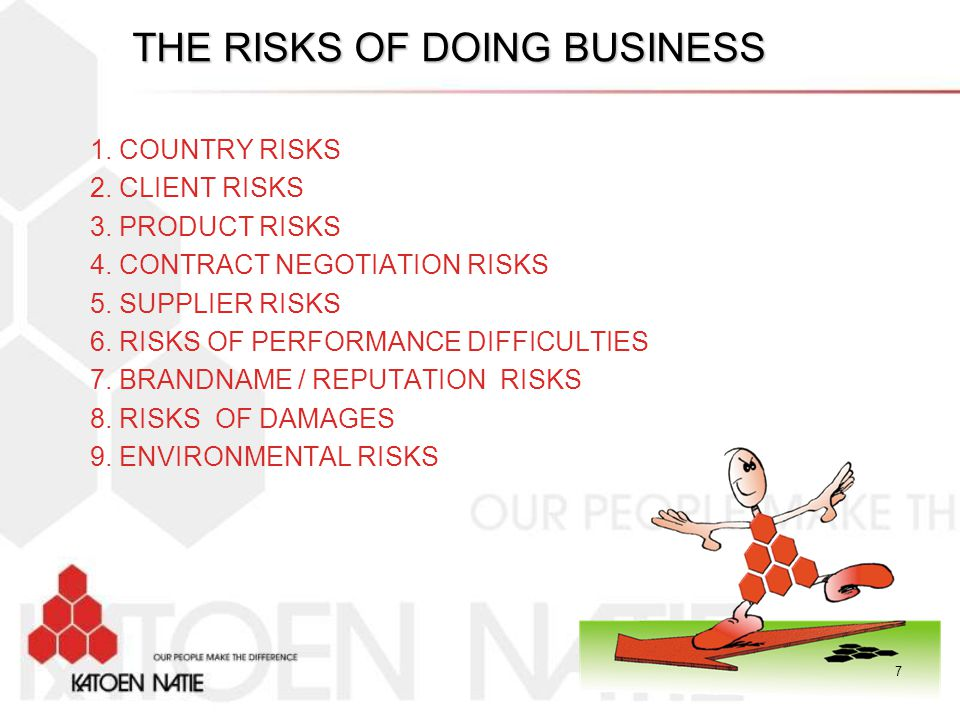 THE RISKS OF DOING BUSINESS