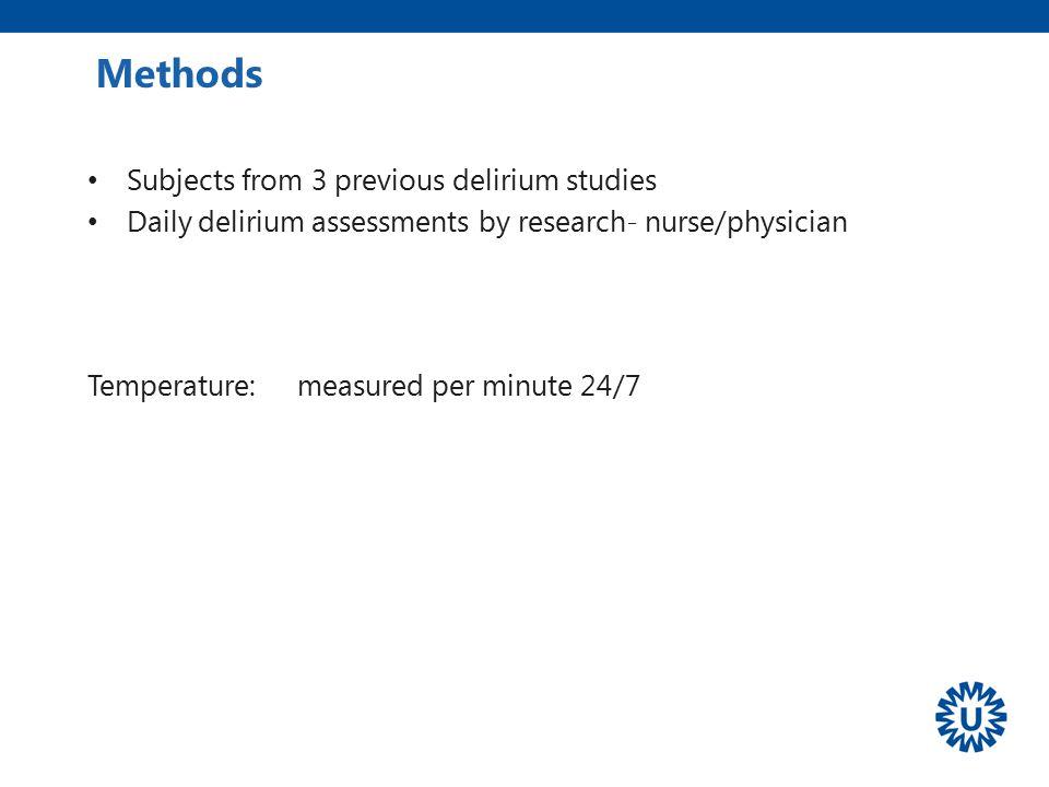 Methods Subjects from 3 previous delirium studies