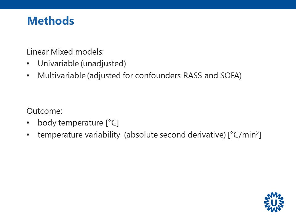 Methods Linear Mixed models: Univariable (unadjusted)