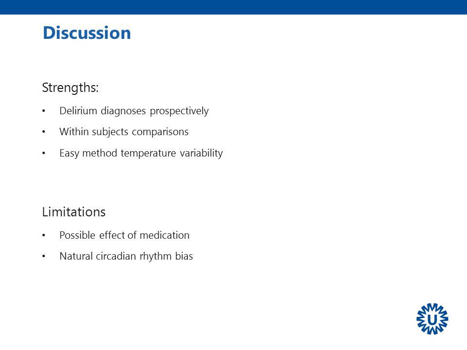 Discussion Strengths: Limitations Delirium diagnoses prospectively