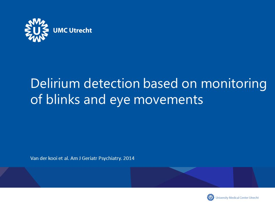 Delirium detection based on monitoring of blinks and eye movements