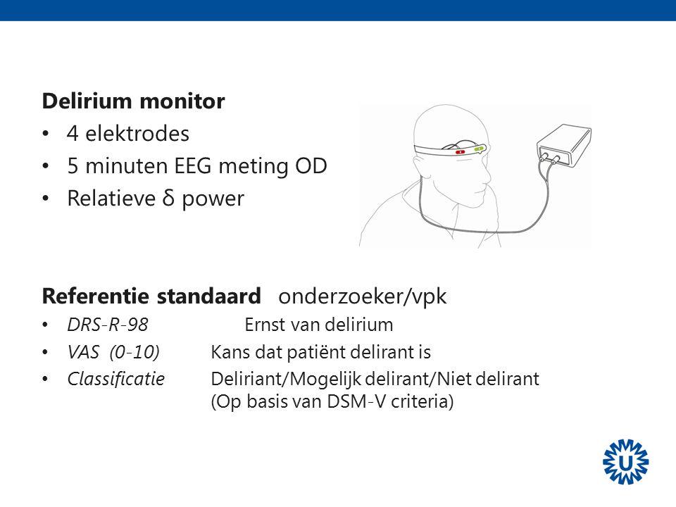 Validatie studie Delirium monitor 4 elektrodes 5 minuten EEG meting OD