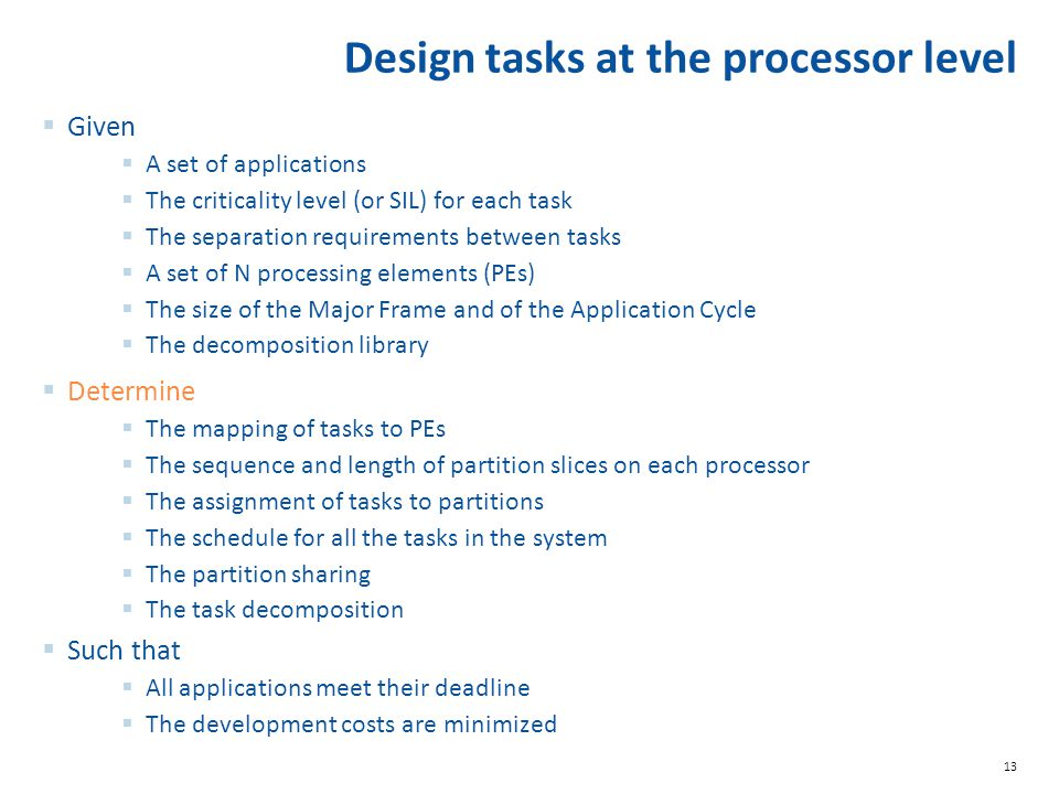 Design tasks at the processor level