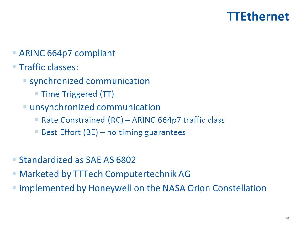 TTEthernet ARINC 664p7 compliant Traffic classes: