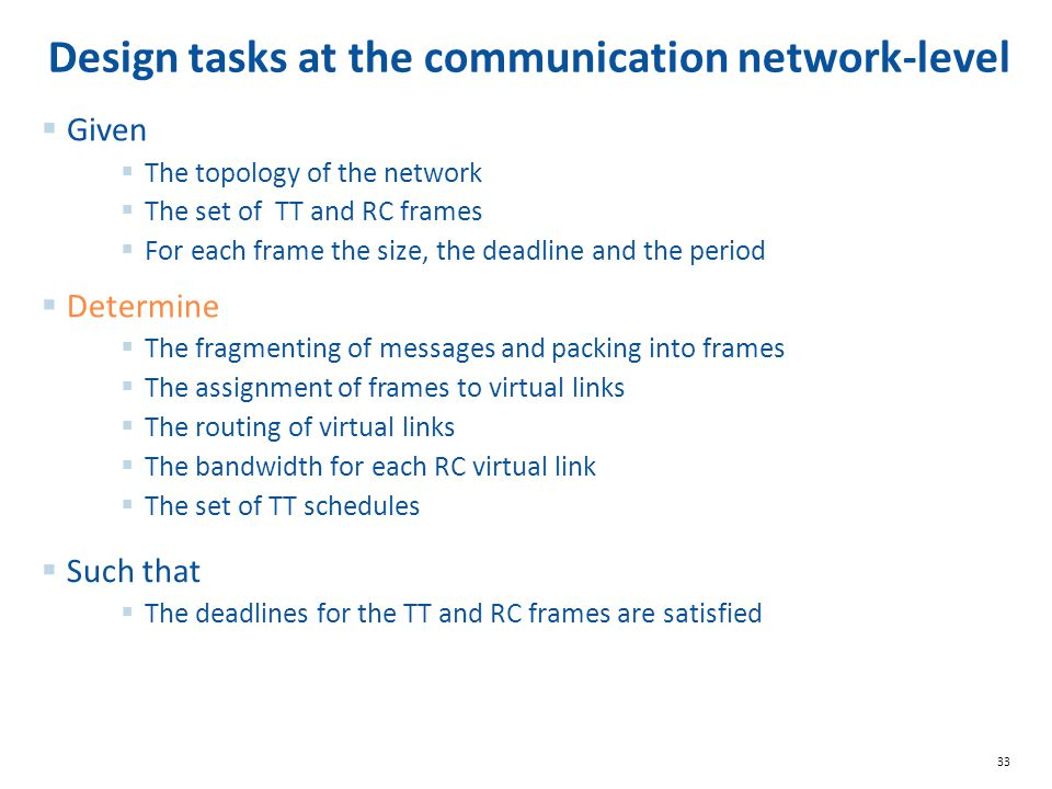 Design tasks at the communication network-level