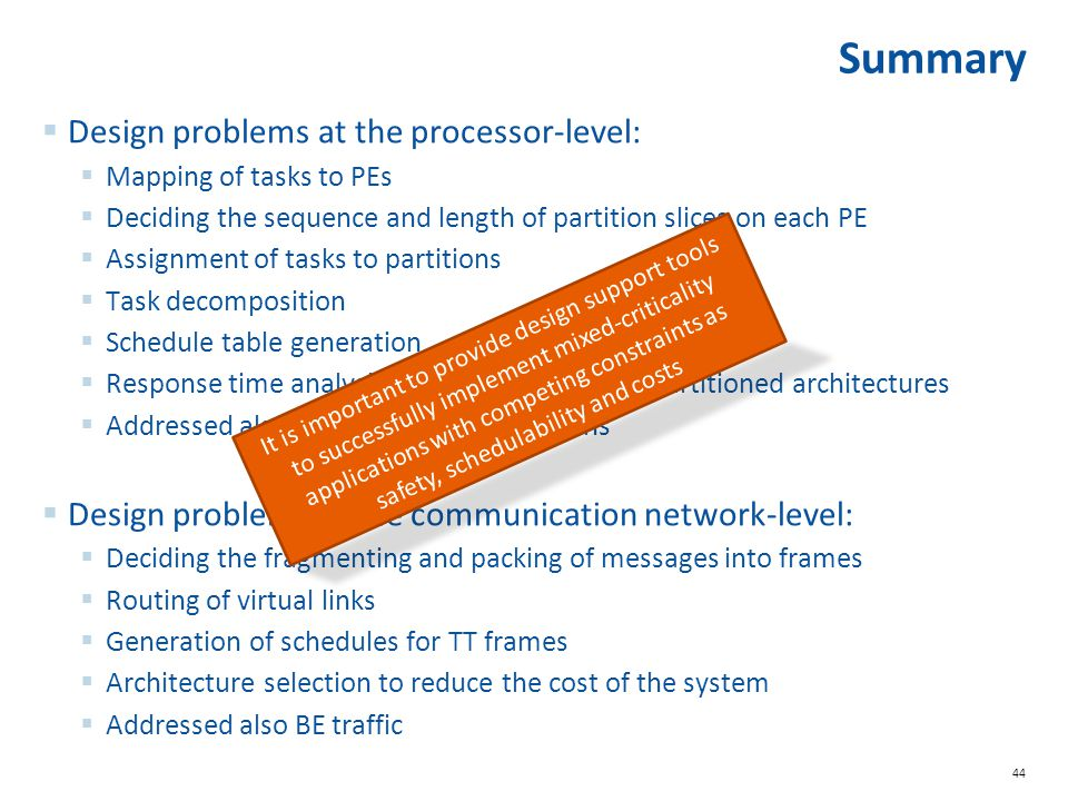 Summary Design problems at the processor-level: