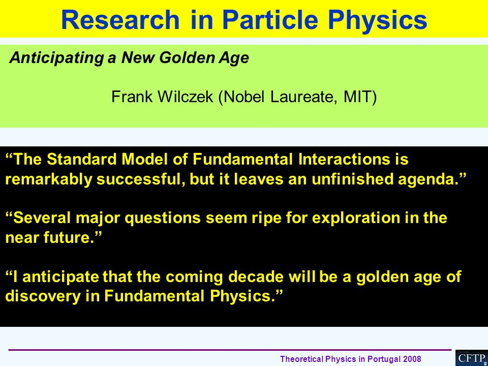 Research in Particle Physics