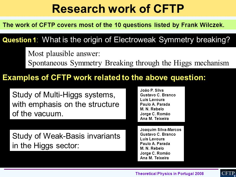 Research work of CFTP Most plausible answer: