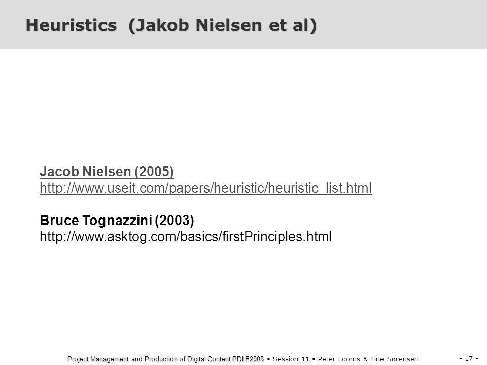 Heuristics (Jakob Nielsen et al)
