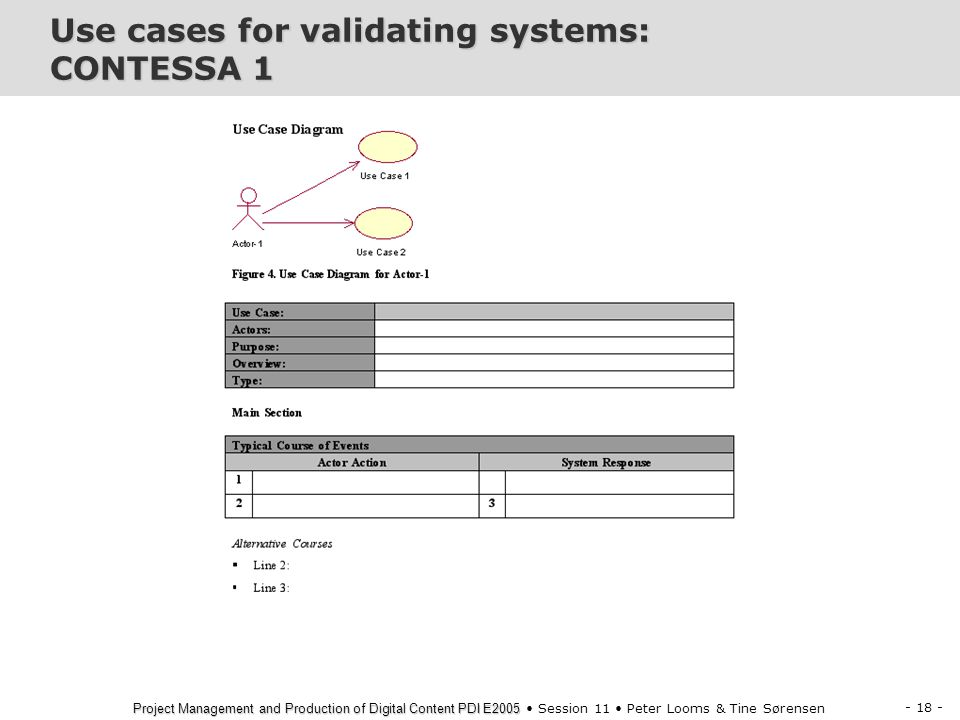 Use cases for validating systems: CONTESSA 1
