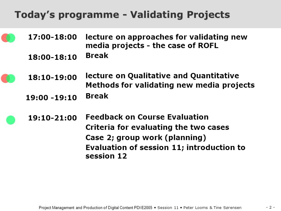 Today's programme - Validating Projects