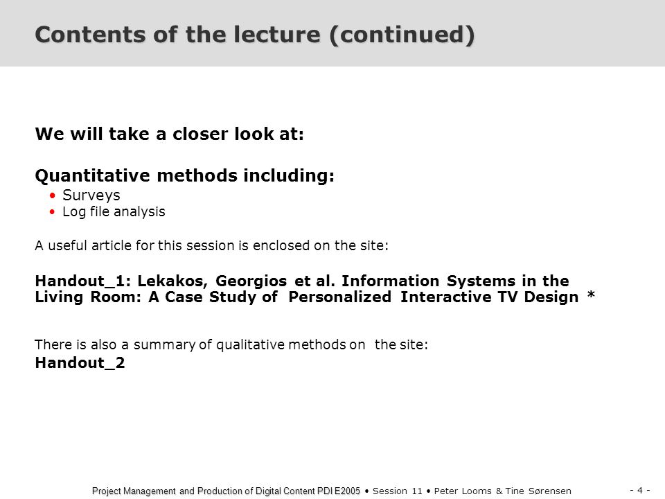 Contents of the lecture (continued)