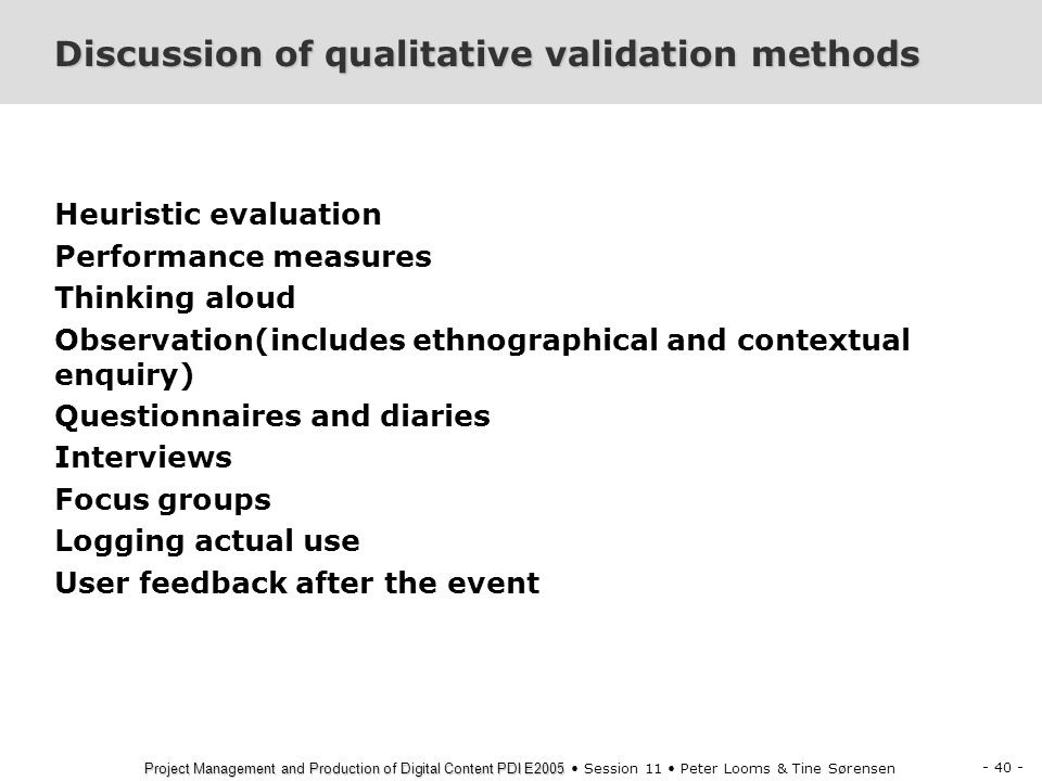 Discussion of qualitative validation methods