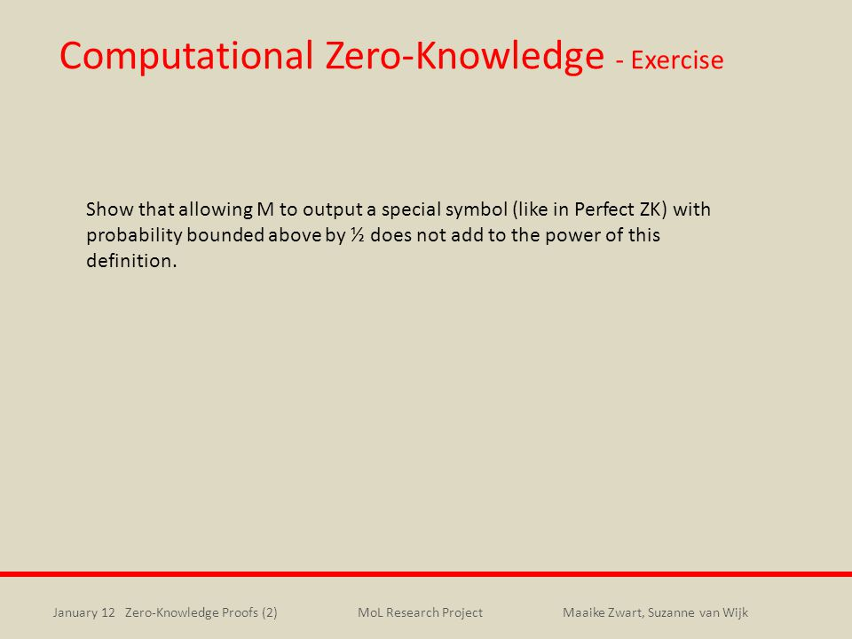 Computational Zero-Knowledge - Exercise