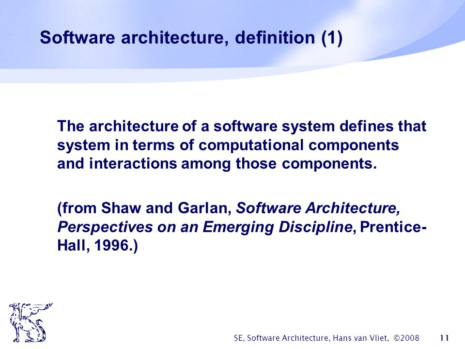 Software architecture, definition (1)