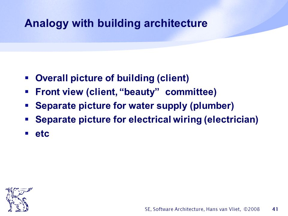 Analogy with building architecture