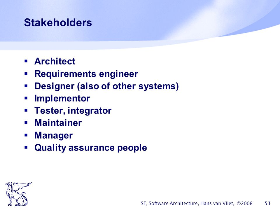 Stakeholders Architect Requirements engineer