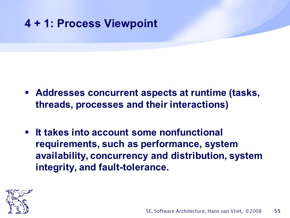 4 + 1: Process Viewpoint Addresses concurrent aspects at runtime (tasks, threads, processes and their interactions)