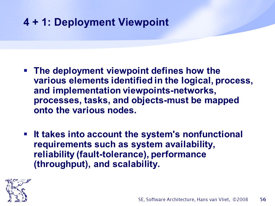 4 + 1: Deployment Viewpoint