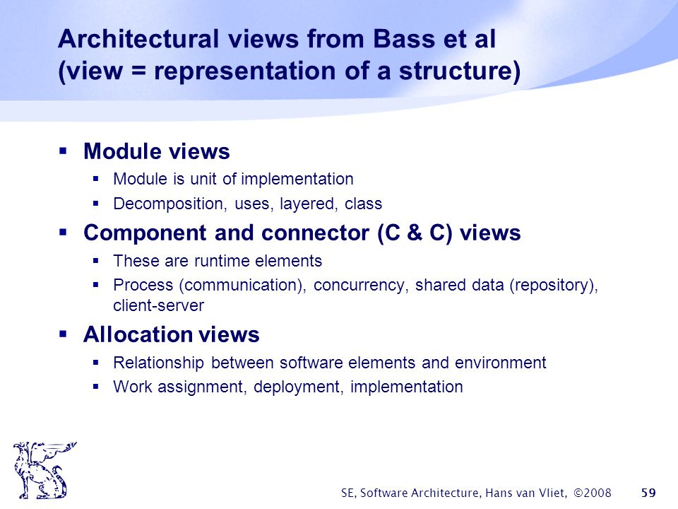 Architectural views from Bass et al (view = representation of a structure)