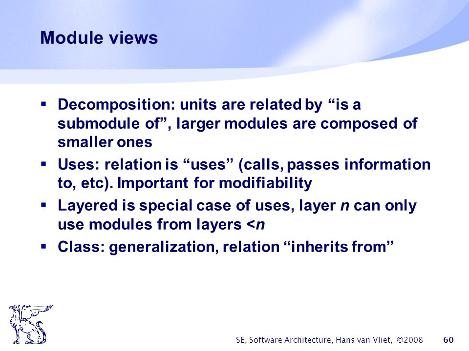 Module views Decomposition: units are related by is a submodule of , larger modules are composed of smaller ones.