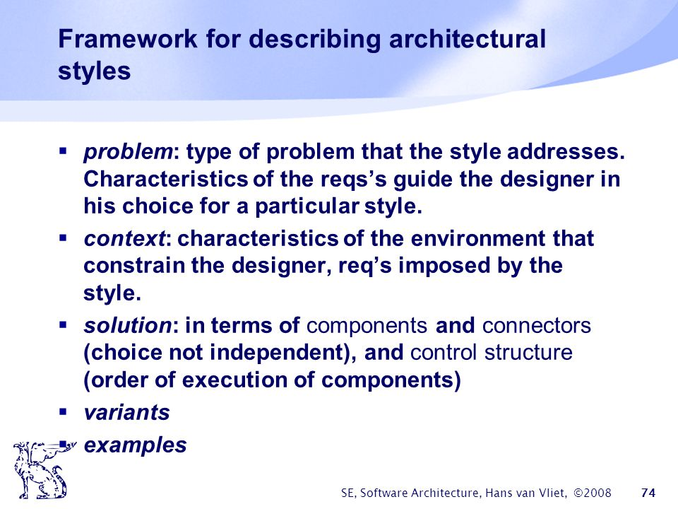 Framework for describing architectural styles