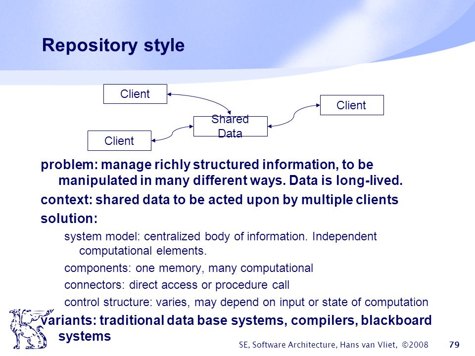 Repository style Shared Data. Client. problem: manage richly structured information, to be manipulated in many different ways. Data is long-lived.
