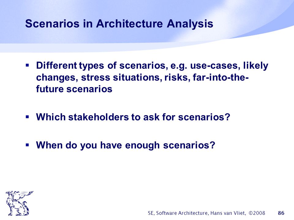 Scenarios in Architecture Analysis